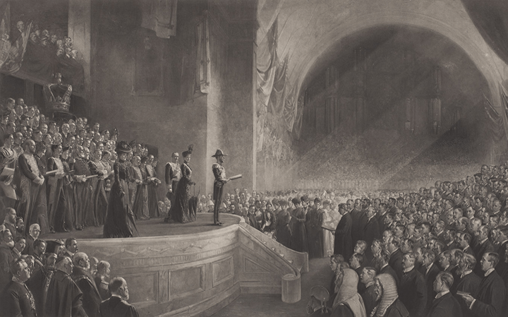 The opening of the Australian federal parliament in 1901.