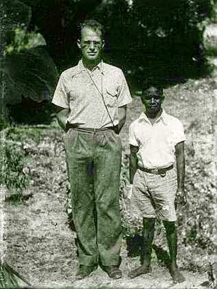 White man with Australian pygmy.